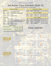 Class schedule & 1018-19 calendar for the Blend