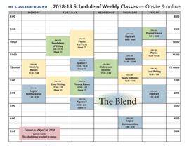 Weekly Schedule of Classes at The Blend
